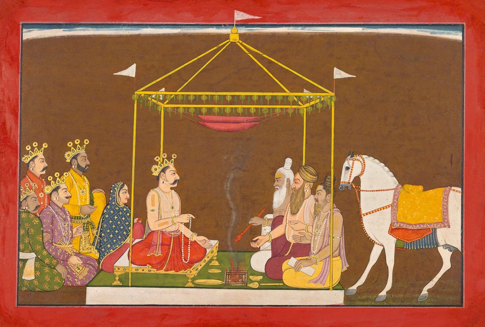 Yudhishthira performs the Horse Sacrifice - Page from the 'Small' Guler-Basohli Bhagavata Purana Series, Attributed to Manaku, Guler, c. 1740