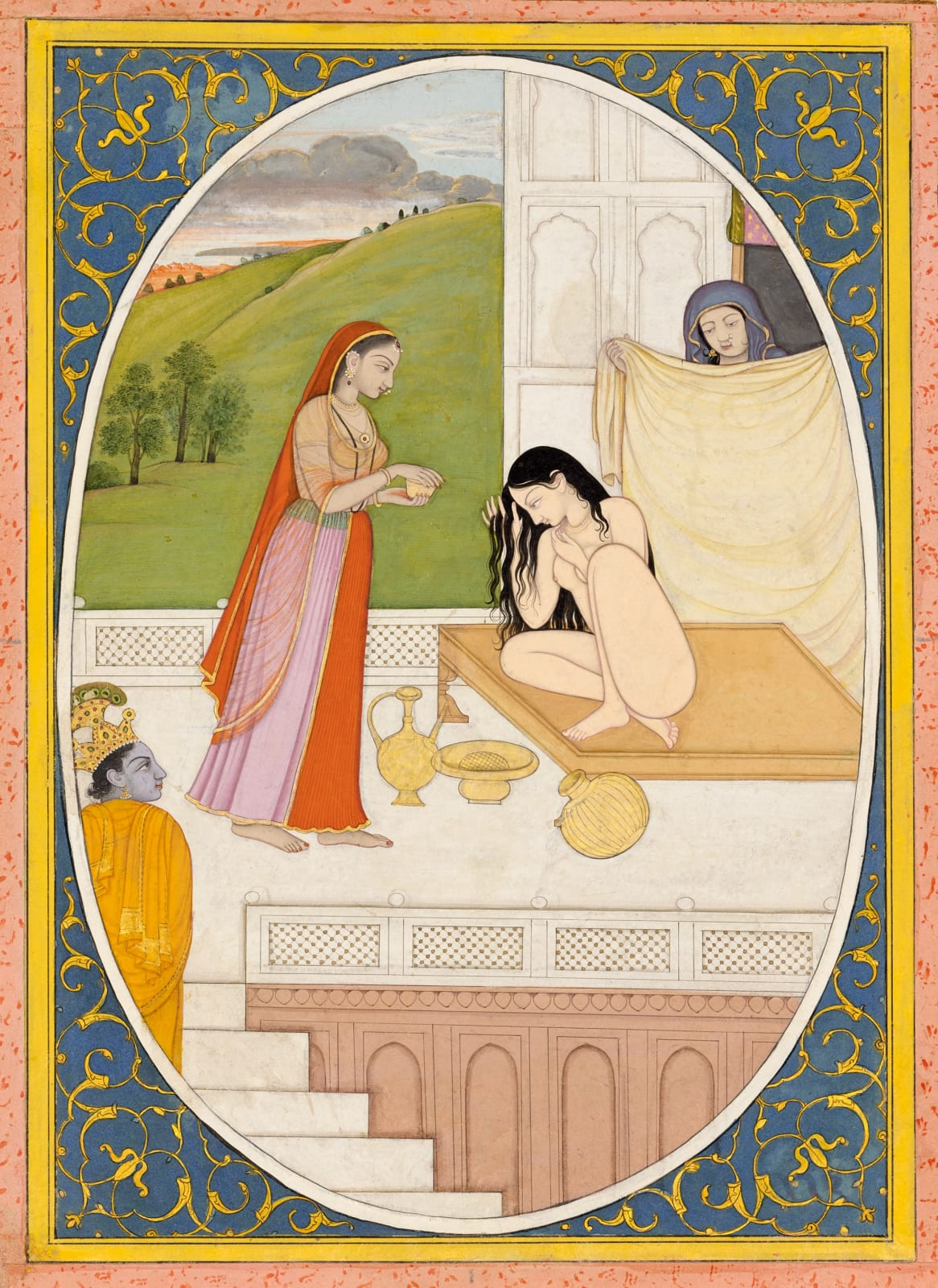 Krishna observes Radha's Toilette - Page from the 'Tehri-Garhwal' Satsai of Bihari, Probably painted by the Guler artist Fattu at Kangra, c. 1785