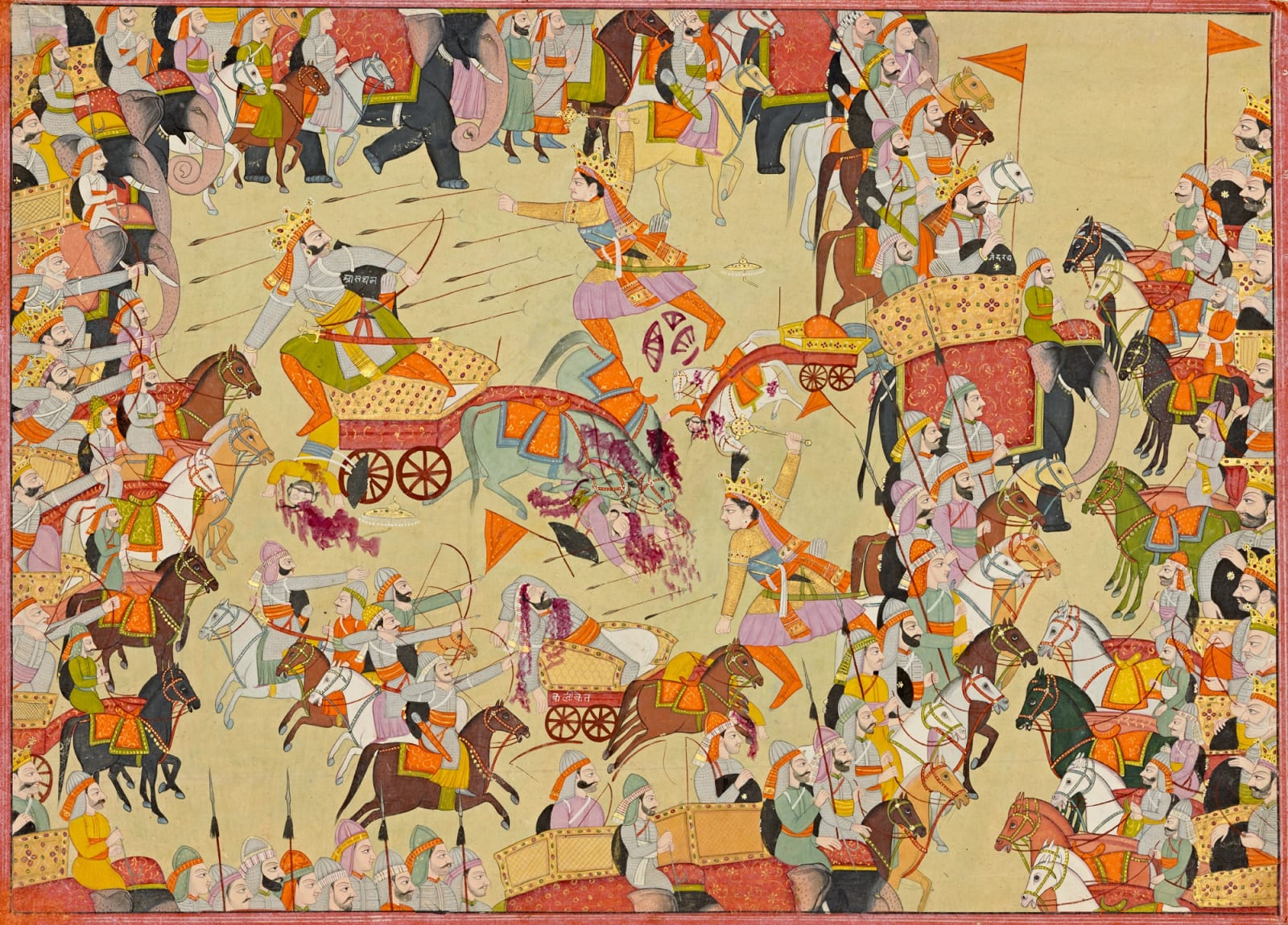 Abhimanyu trapped in the Chakravyuha Formation strikes Ashvatthama with his Mace - Page from a Mahabharata Series , Kangra, c. 1820