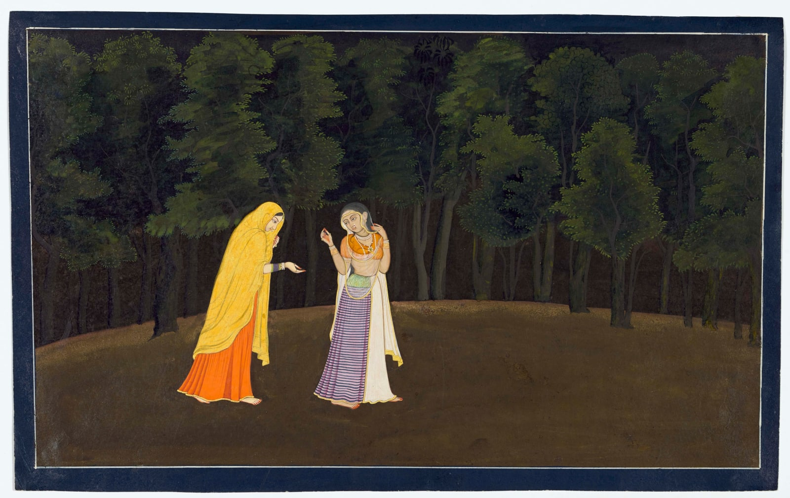 The timid Radha is led towards her first tryst with Krishna; Page from the Tehri-Garhwal Gita Govinda, Guler or Kangra, c. 1775–80