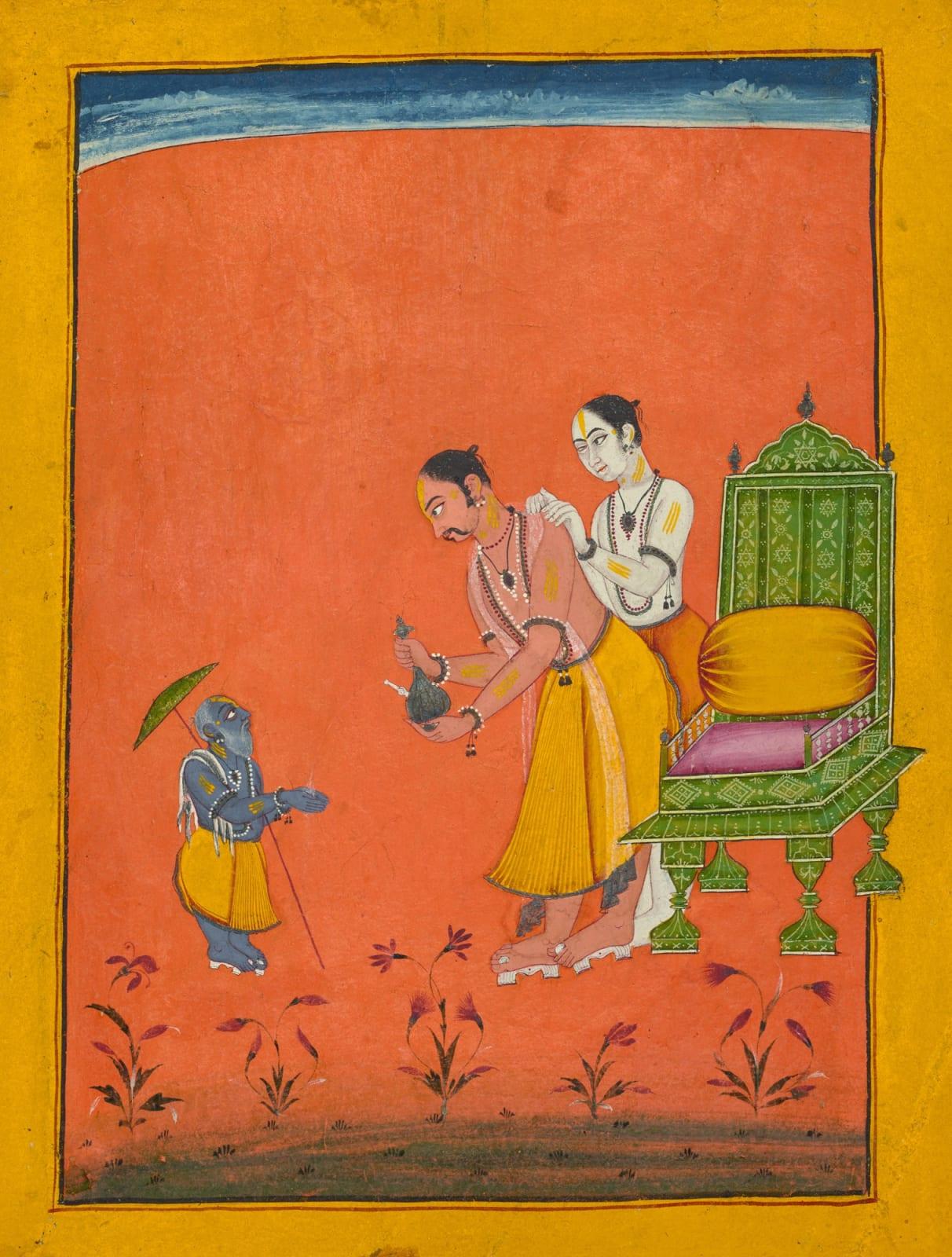 Vamana, the dwarf avatar of Vishnu; Page from a Dashavatara series, Bilaspur, c. 1680–1700