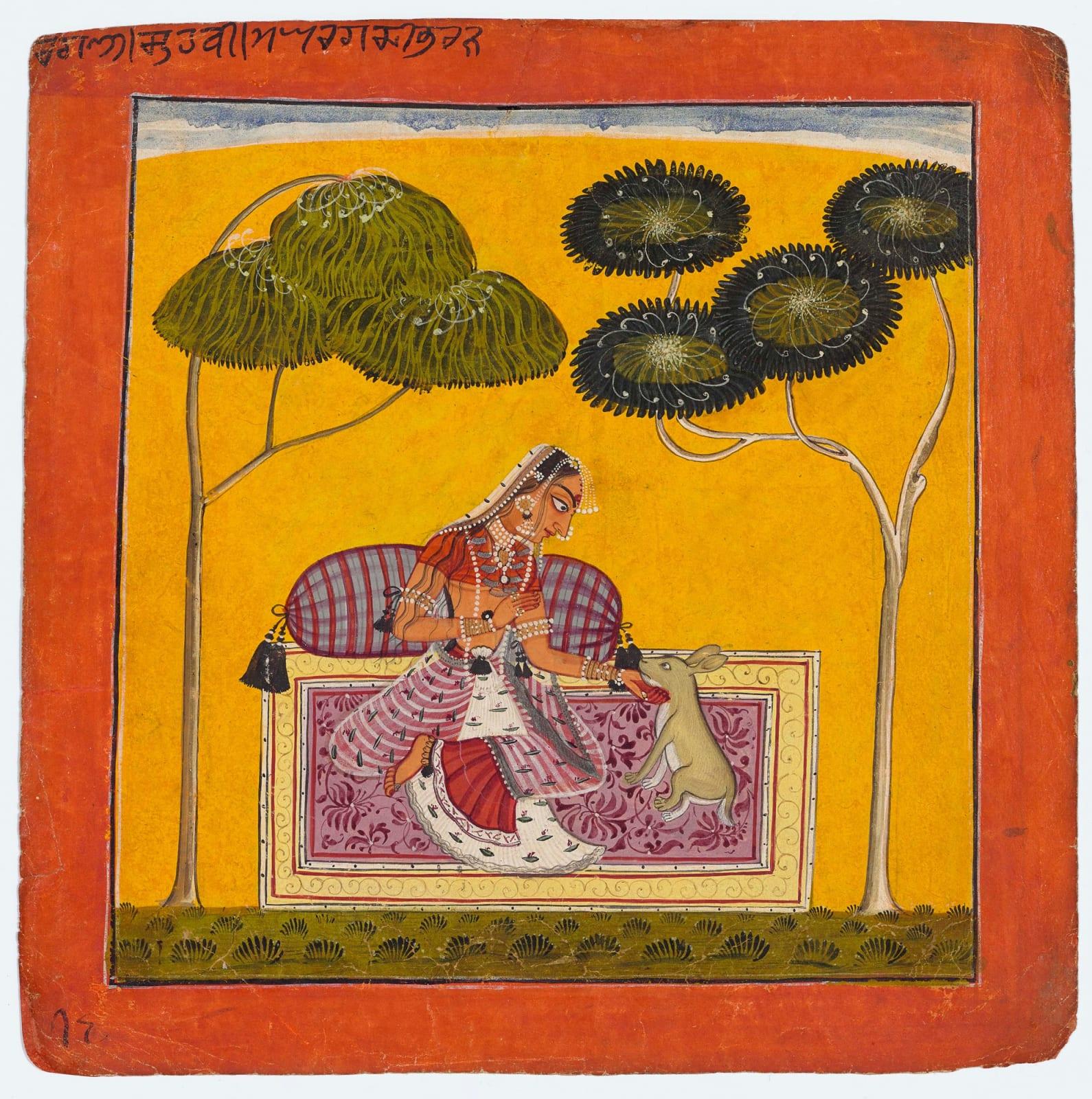 Ragini Suhavi, wife of Megha raga: Page from a Ragamala series, Circle of Devidasa, Nurpur or Basohli, c. 1685–88