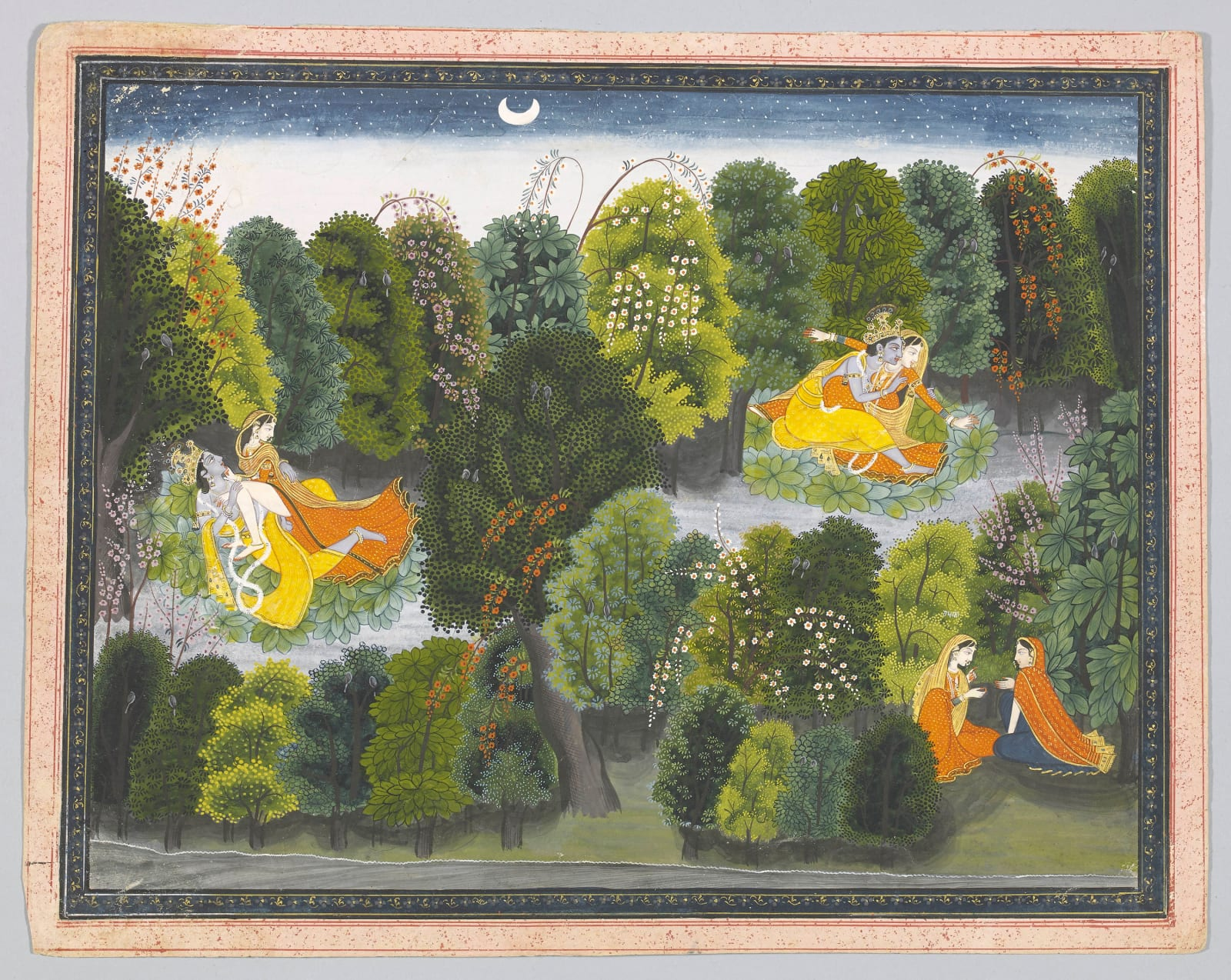 Radha in her jealousy imagines Krishna coupling with other women; Page from the 'Lambagraon' Gita Govinda, Attributed to Purkhu, Kangra, c. 1820