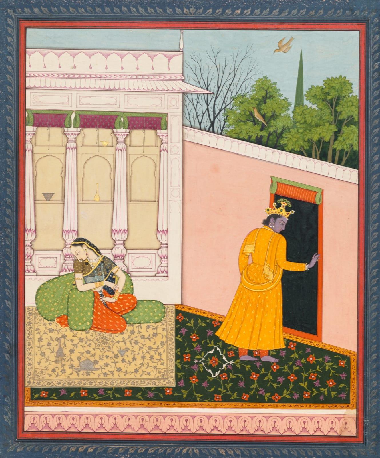Radha is distraught as Krishna walks off dejectedly; The Abhisandhita nayika from a Rasikapriya or Astanayika series, Guler, 1780–90