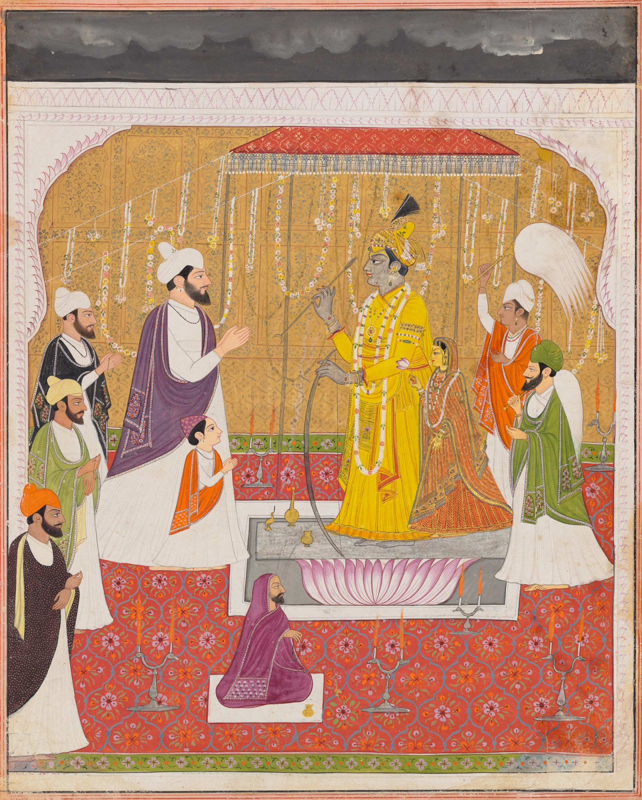 Raja Sansar Chand and his son Anirudh Chand worshipping images of Shiva and Parvati, Style of Purkhu, Kangra, 1792–95