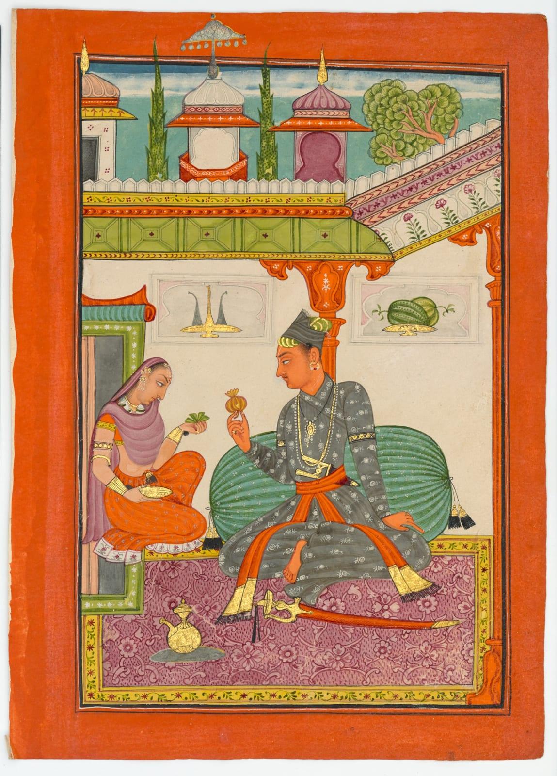 Madhu raga, son of Bhairav raga; Page from a Ragamala series, Bilaspur, 1690–1700