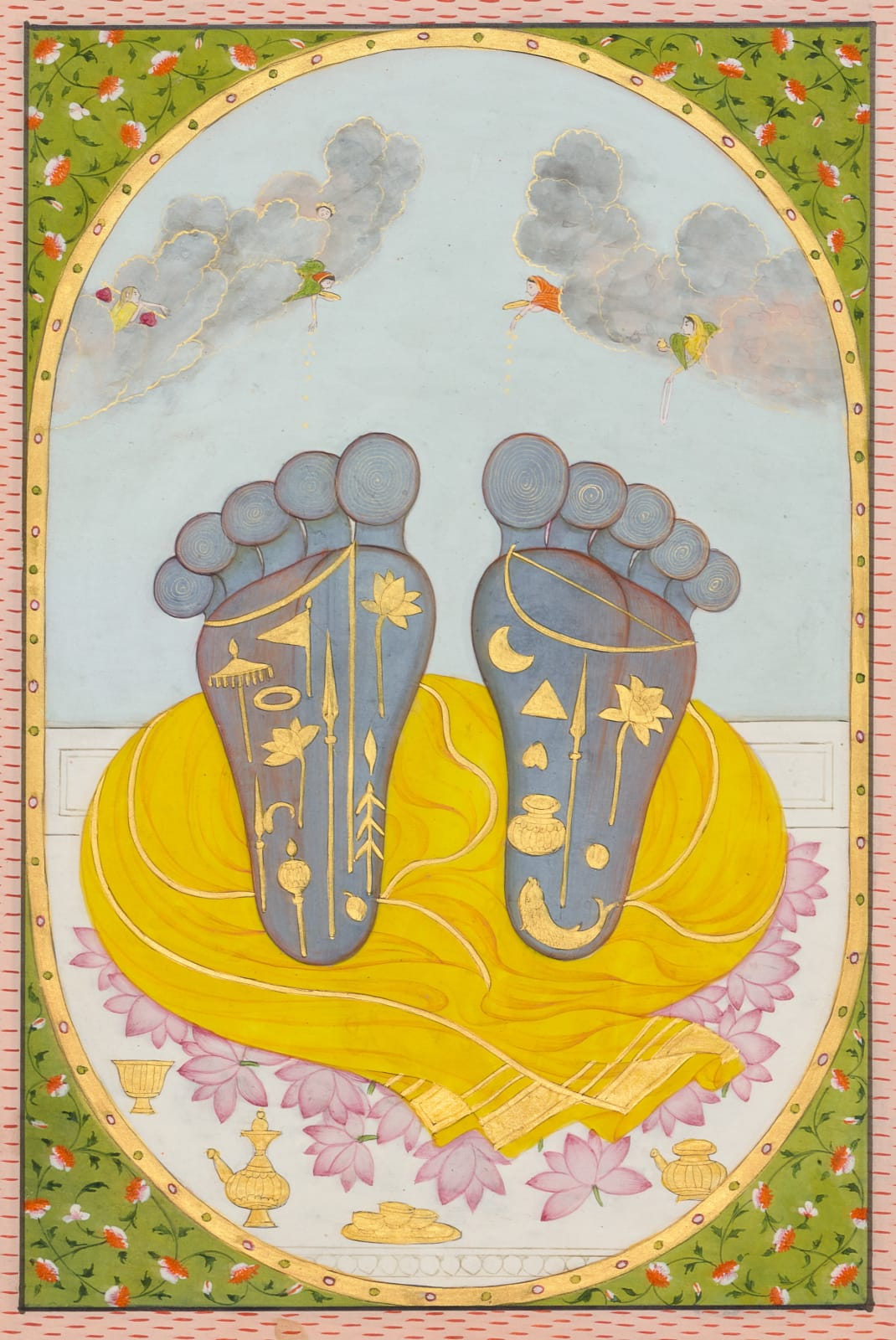 Vishnu's feet as objects of worship, Kangra, c. 1810–20