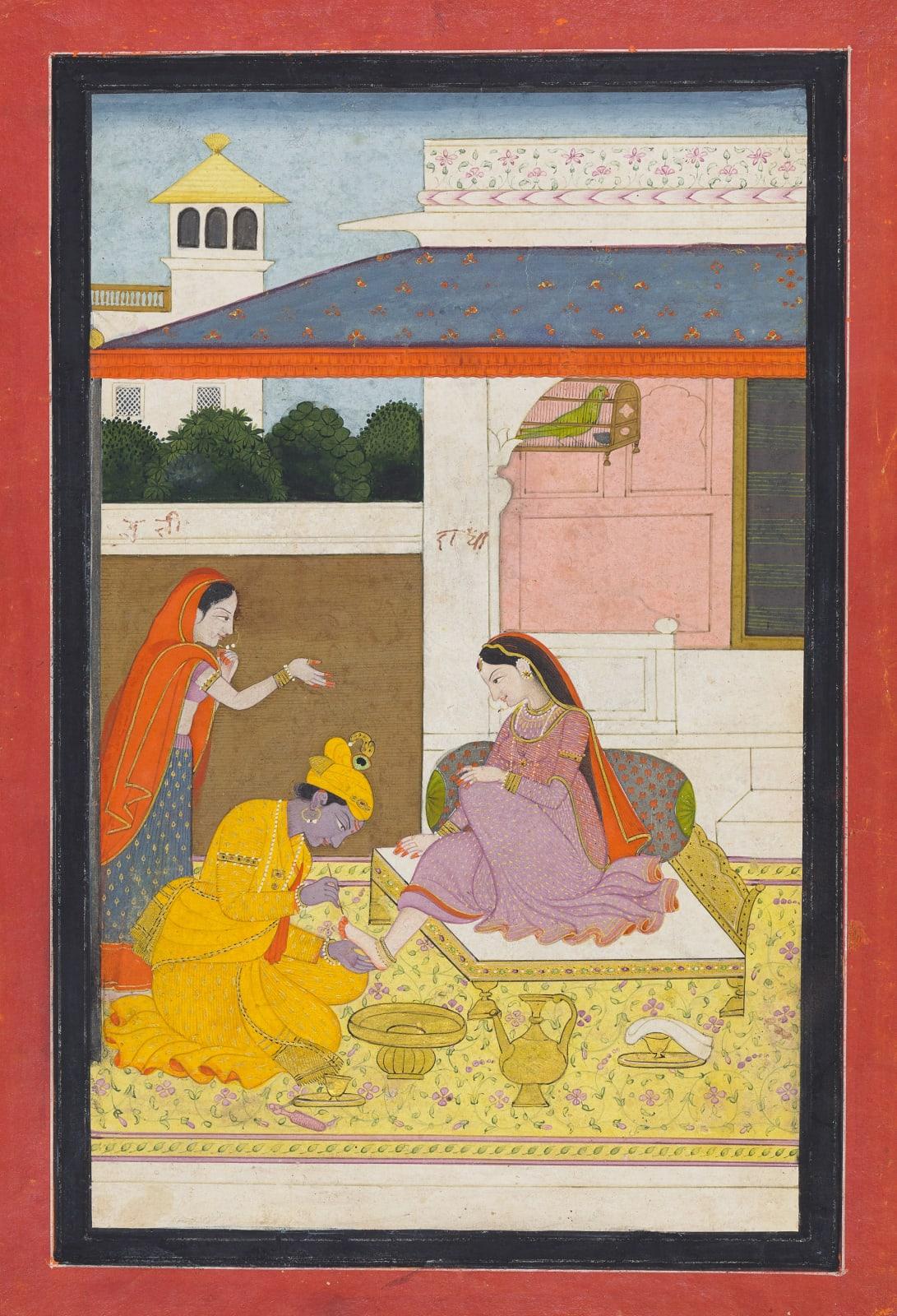 Krishna paints Radha's toenails red; The Svadhinapatika nayika from a Rasikapriya series, Kangra, c, 1800