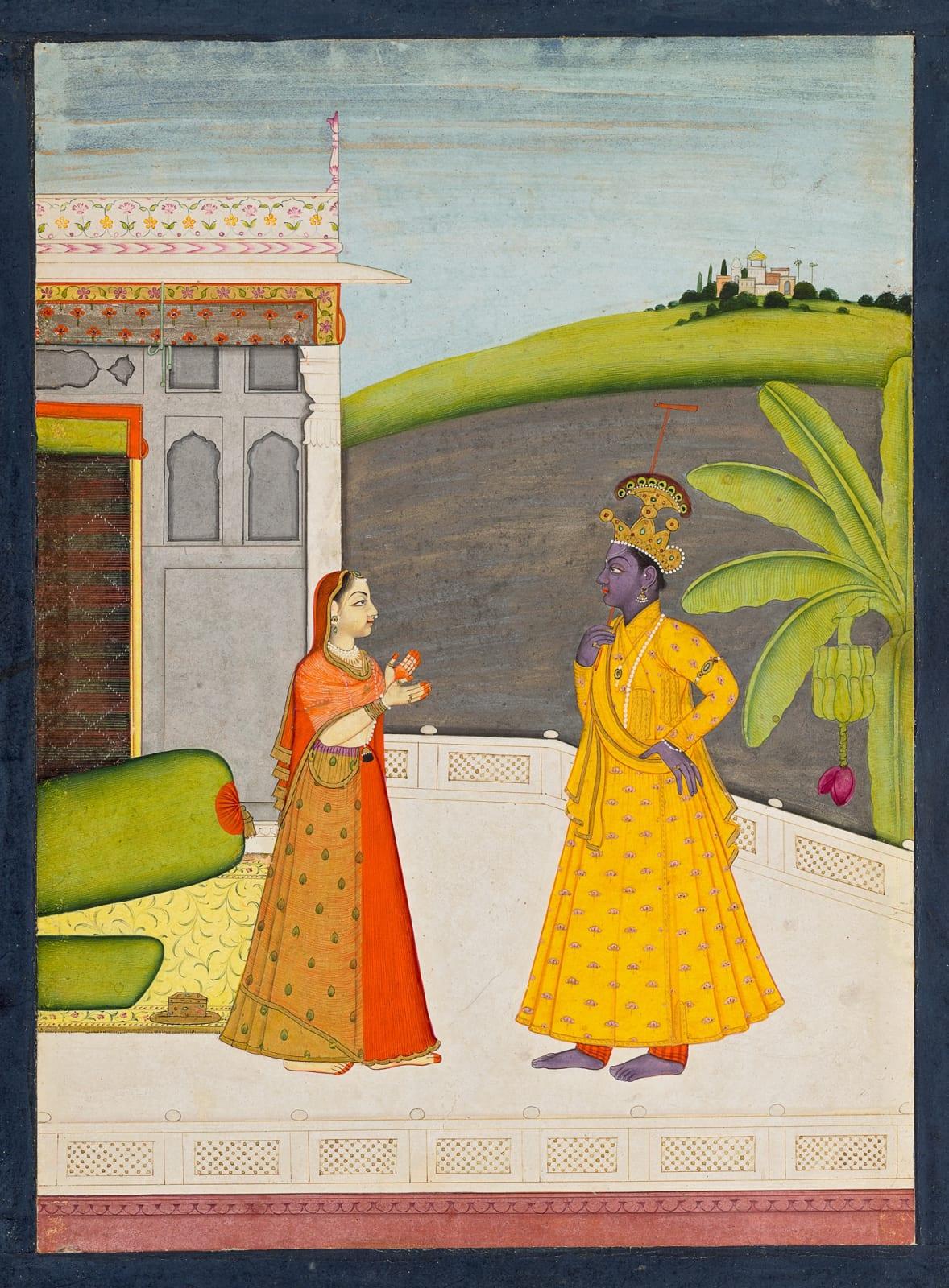 Radha upbraids Krishna for going with other women; The Khandhita nayika from a Rasikapriya or Astanayika series, Guler, c. 1750–60