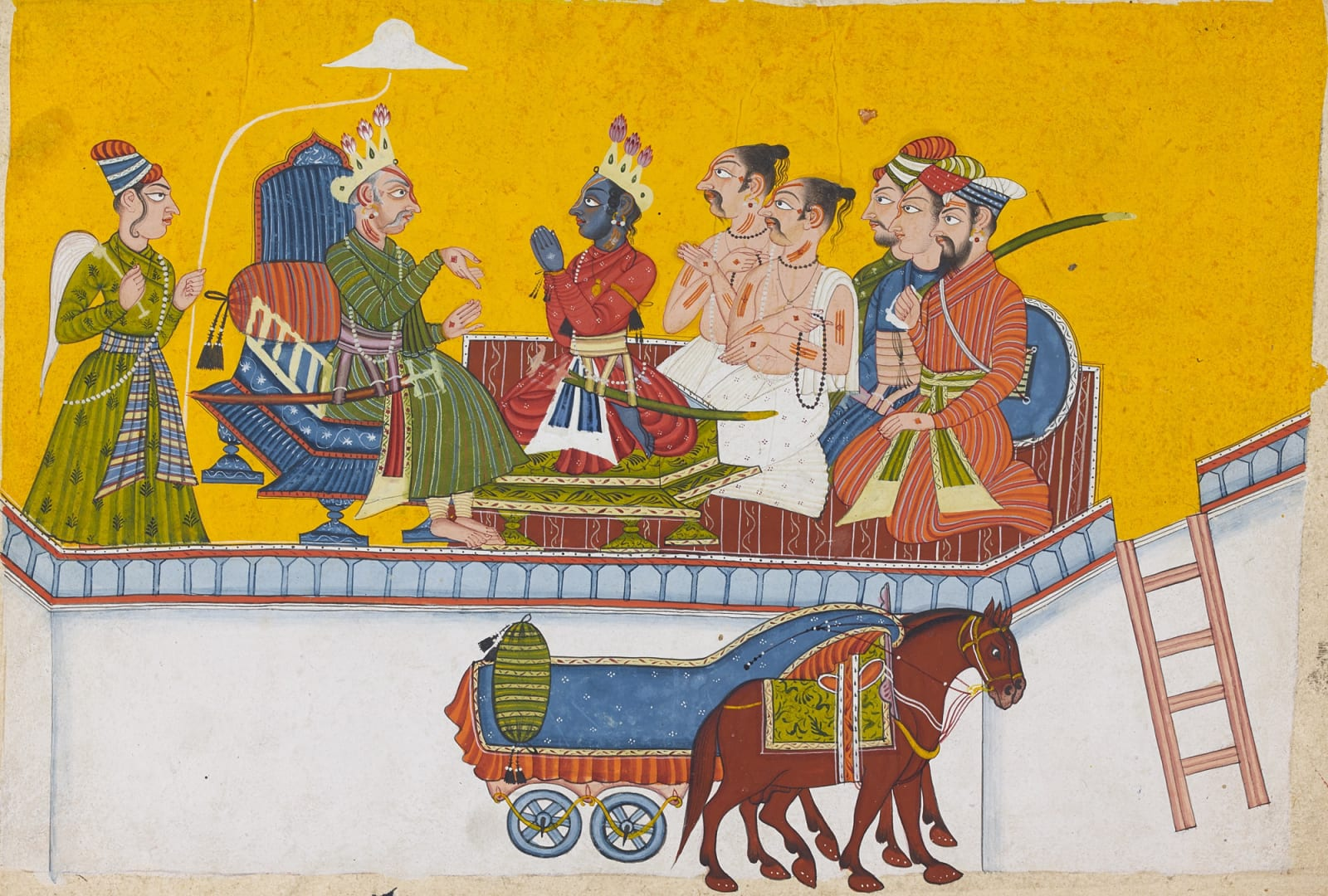 "Dasaratha, King of Ayodhya, with His Son Rama - A Folio from the ""Shangri"" Ramayana (Style II), Bahu (Jammu), c.1690-1710"