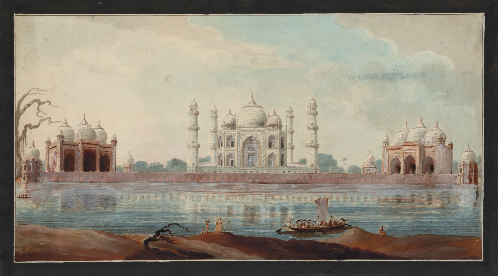 The Taj Mahal seen from across the river with mosque and assembly hall in perspective view with a ferryboat putting out, in the manner of Sita Ram. Murshidabad, 1795-1807