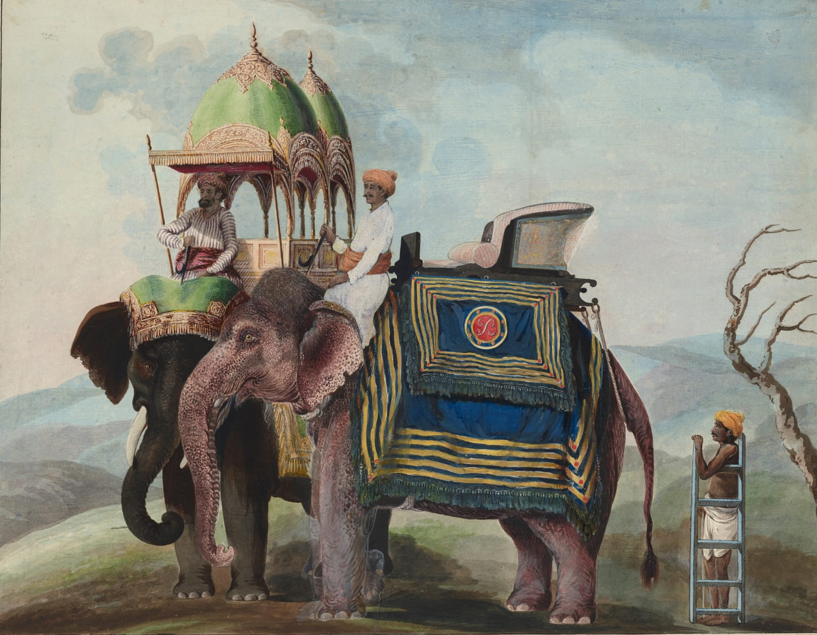 Two caparisoned elephants, in a hilly landscape. It is possible that the 'B' might refer to Judge Edward Eyre Burgess who was appointed judge at the Murshidabad adaulat in 1772., Murshidabad, 1795-1807