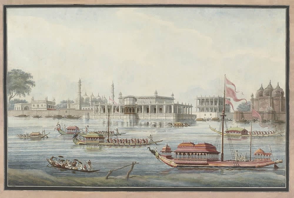 View from the opposite side of the Bhagirathi of the old palace at Murshidabad (Agna Mahal). , Murshidabad, 1795–1807