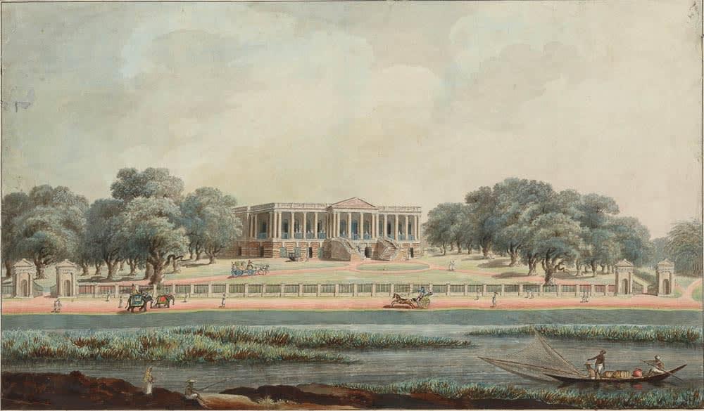 A view of Afzalbagh House, the British Residency at Maidapur, overlooking the Bansbari Jheel., Murshidabad, 1795-1807