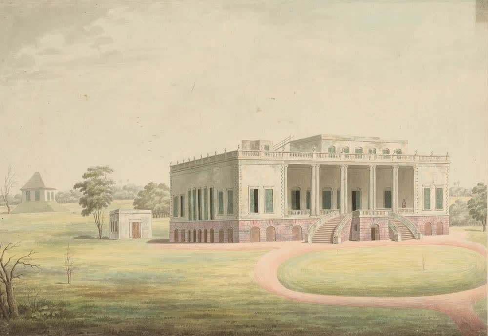 The front view of Thomas Pattle's house, known as Champapoka House. , Murshidabad, 1795-1807