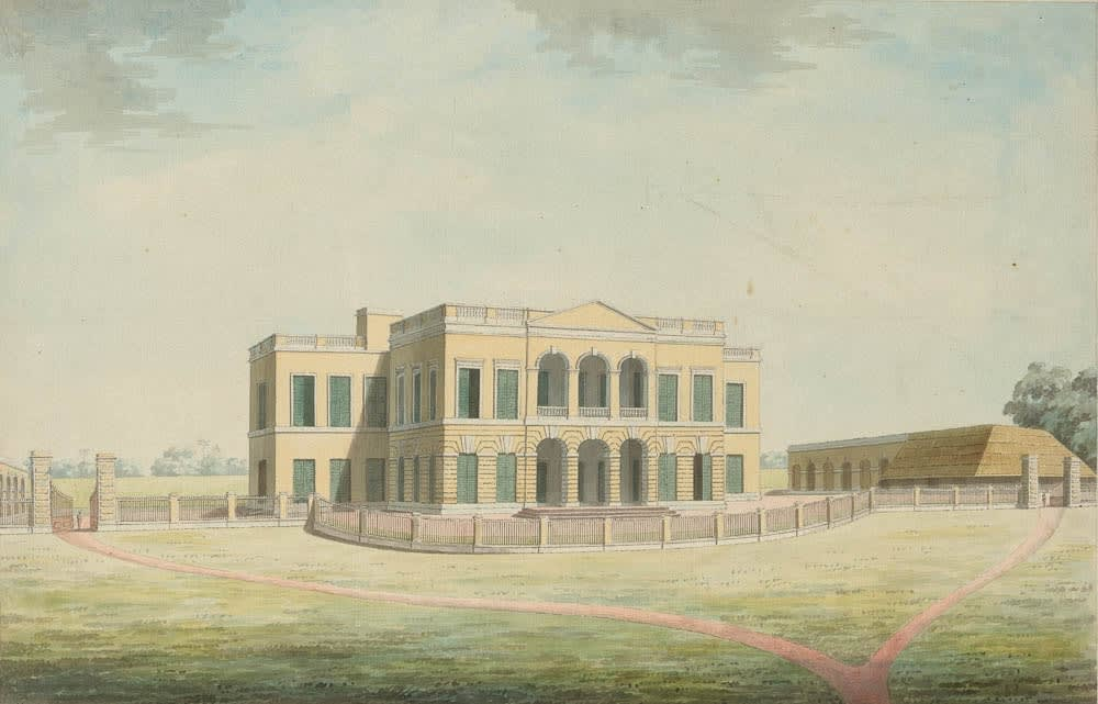 Often referred to as the Factory House, this is the front view of Cossimbazar House., Murshidabad, 1795-1807