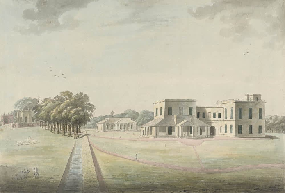 Mr Burgess's House at Maidapur, formerly rented by Captain Parlby, the long avenue of deodar trees (left) said to be a mile in length was planted by Thomas Amplett. 39 x 54 cm , Murshidabad, 1795-1807