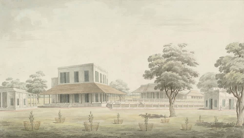 The rear or south east view of Christopher Oldfield's house at Maidapur (left) with Dr James Wilson's modest bungalow (centre). , Murshidabad, 1795-1807