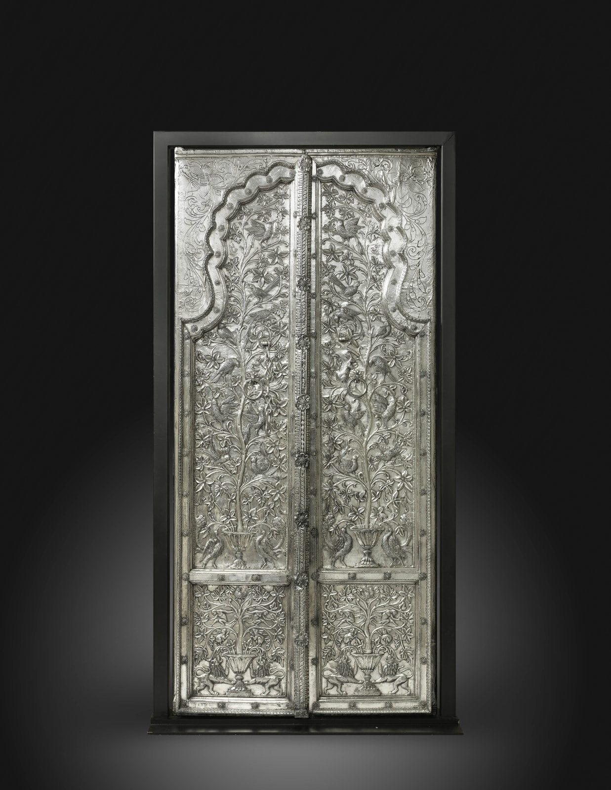 A pair of Royal silver-plated doors Commissioned for the Juna Mahal Palace, Dungarpur, Rajasthan, India