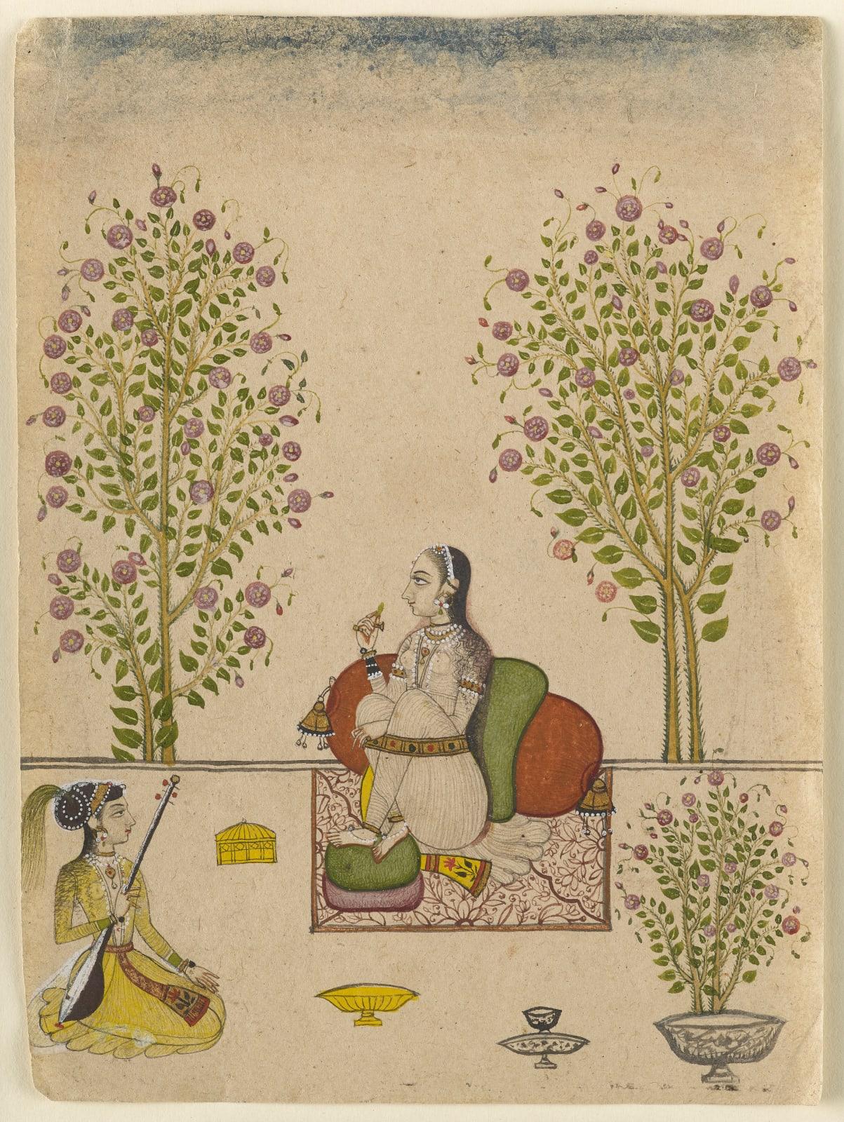 A princess seated on a terrace with a girl musician, Sawar, Ajmer, circa 1725-50