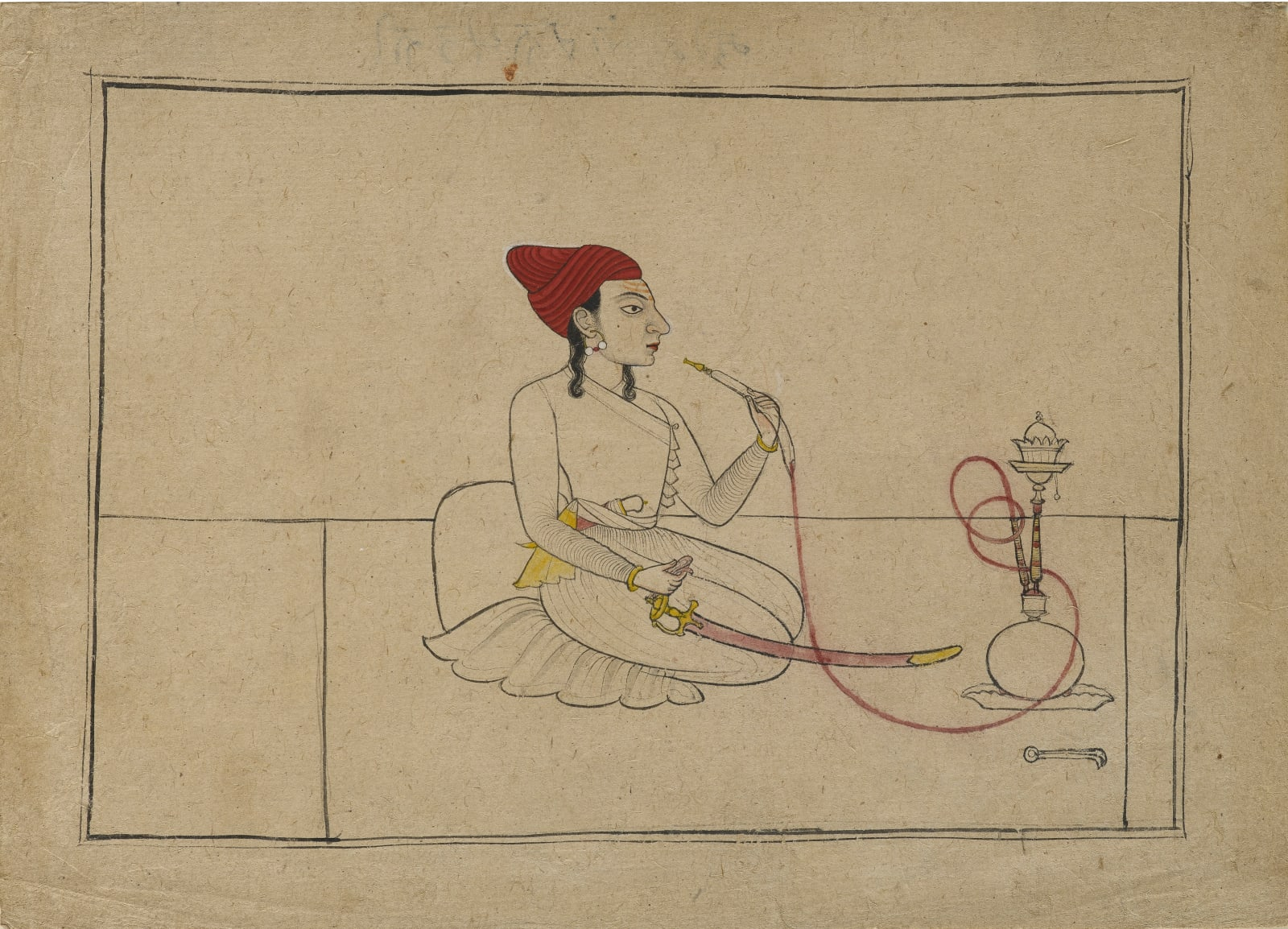 Raja Ajmat Dev of Mankot as a youth, seated smoking a hookah, Mankot, c. 1715