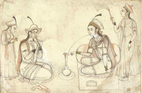 A Princess on a Terrace Smoking a Hookah, Chamba, c.1730