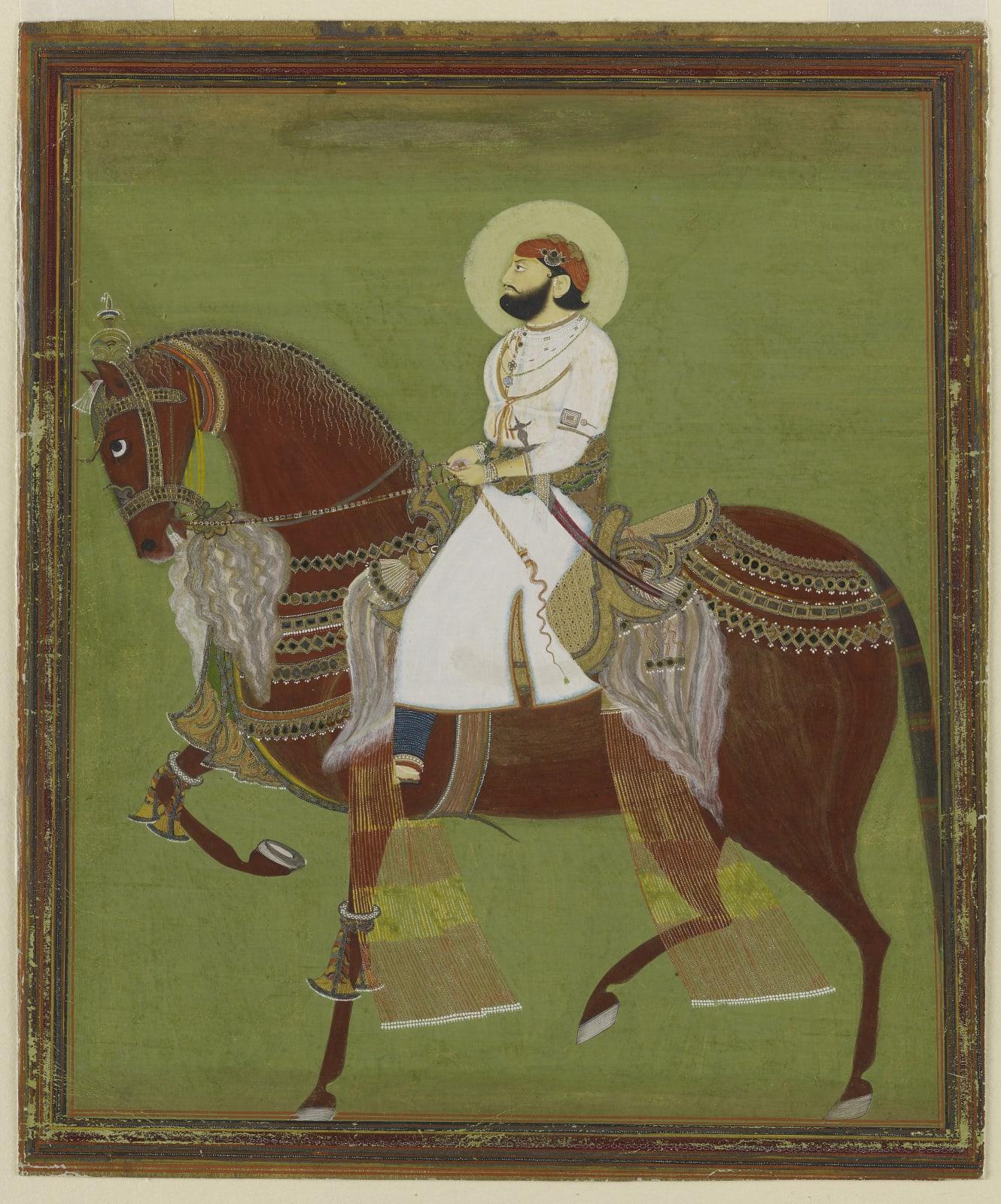 A ruler on horseback, probably Maharao Bakhtawar Singh of Alwar, Alwar, c. 1810