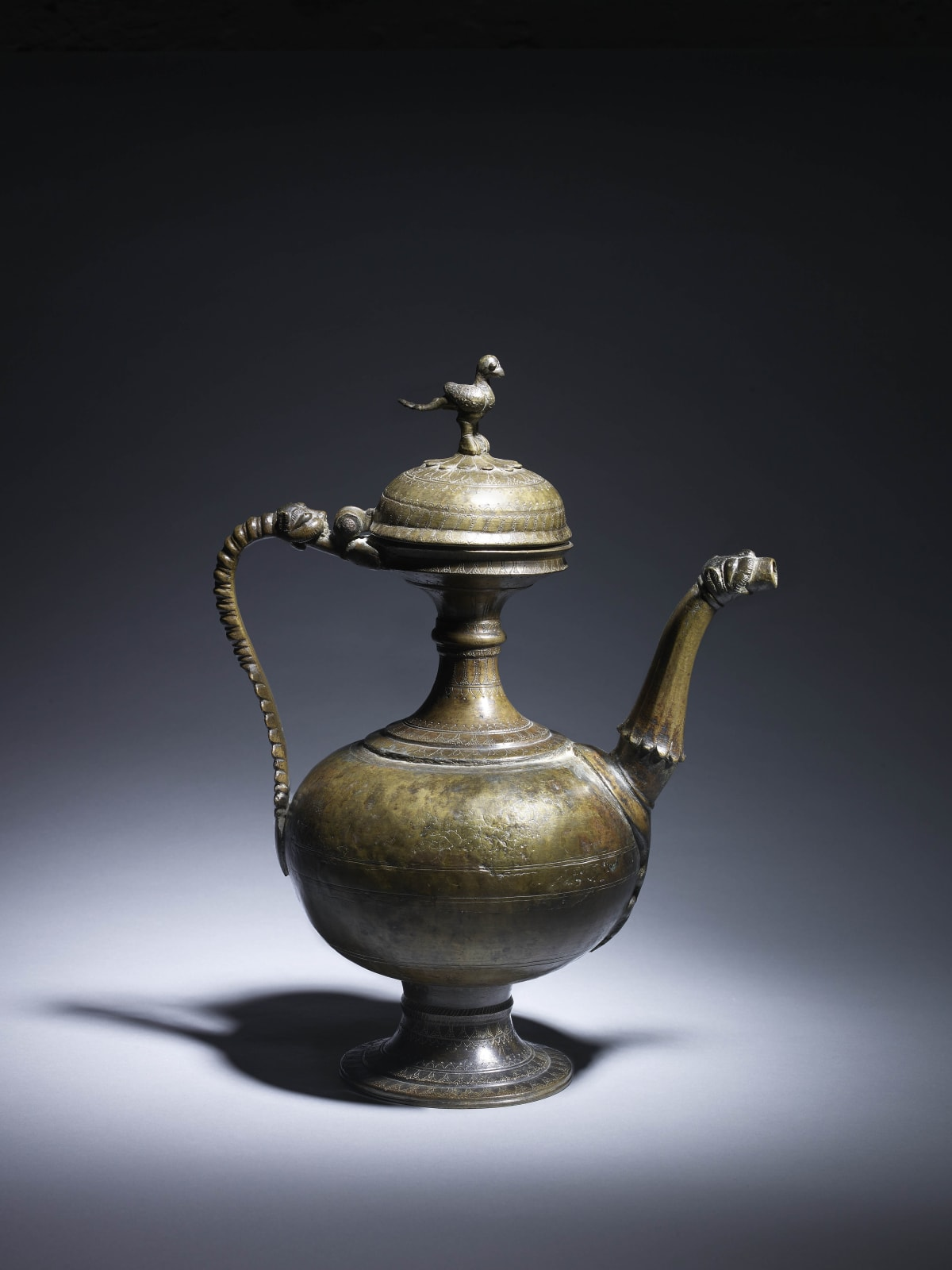 A large Sultanate Bronze Ewer and Cover, India, 16th century