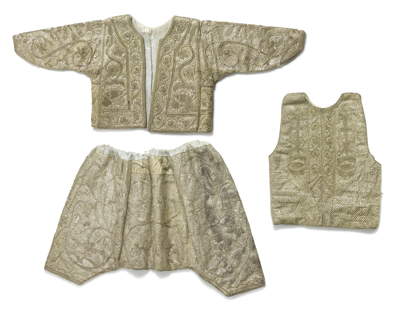 A boy's circumcision costume consisting of a jacket, short pantaloons and a vest, Tunisia, Tunis, first half of 20th century