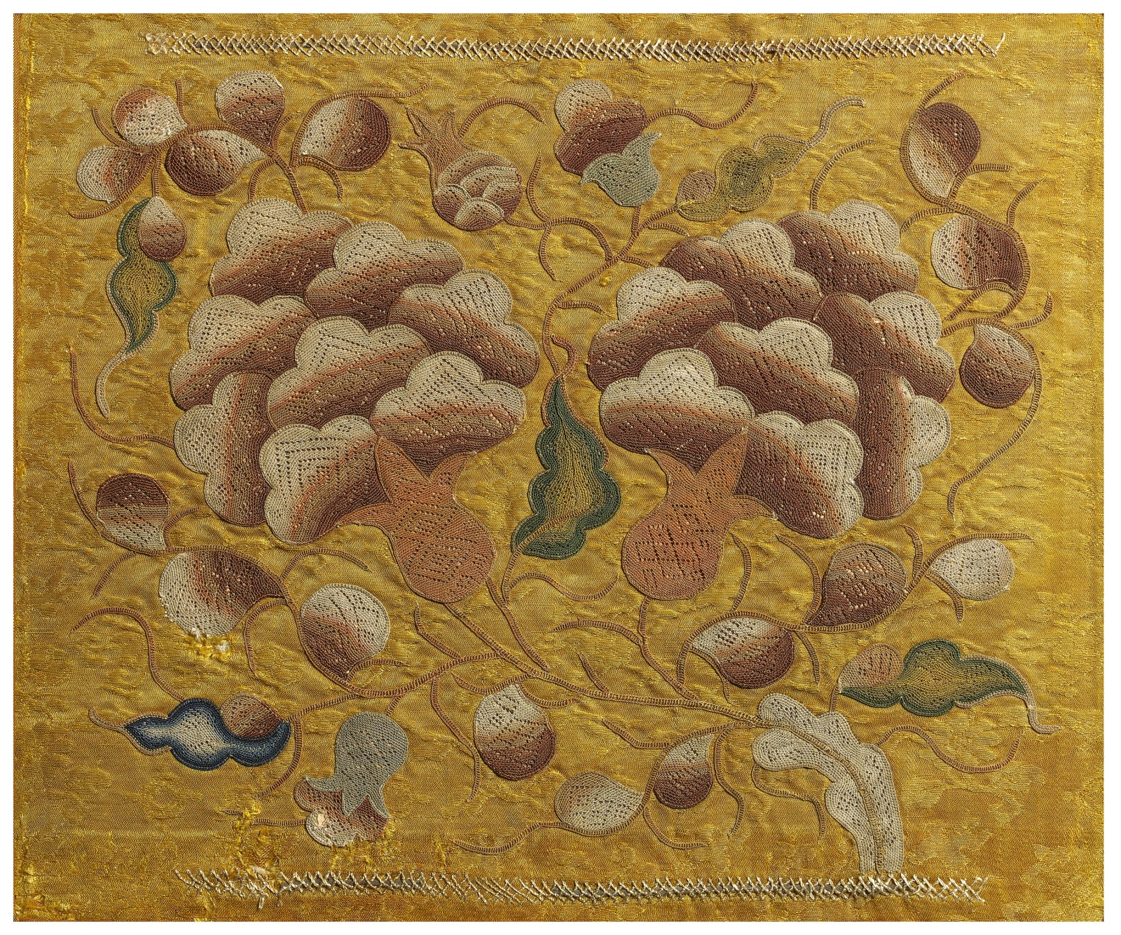 Rare needleloop embroidery with tree peonies, Chinese, Yuan dynasty (1279-1368)