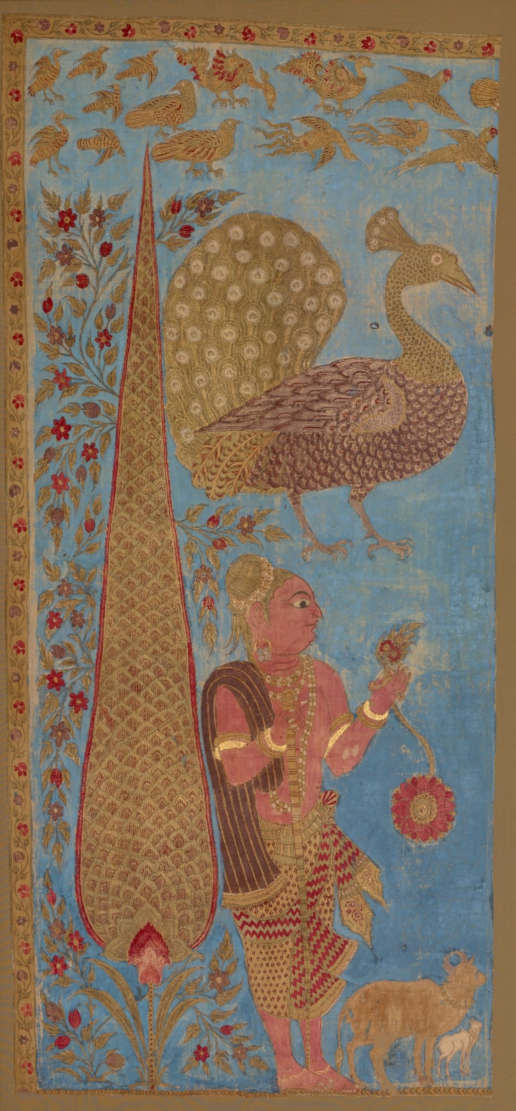 Pilgrim or guardian figure standing by a cyprus tree, South-east India, possibly Masulipatnam in coastal Deccan, mid-18th century
