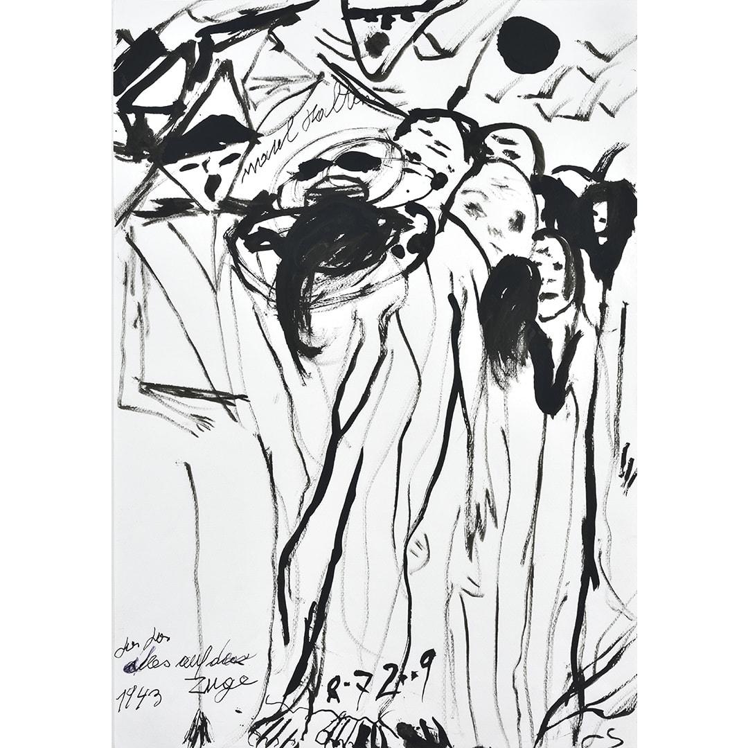 Ceija Stojka Taisez-vous! Allez, allez, tout le monde dans le train ! 1943 (Vienne, ref 947), 08/07/2009 Encre sur papier 42 x w 29,5 cm (CST105)