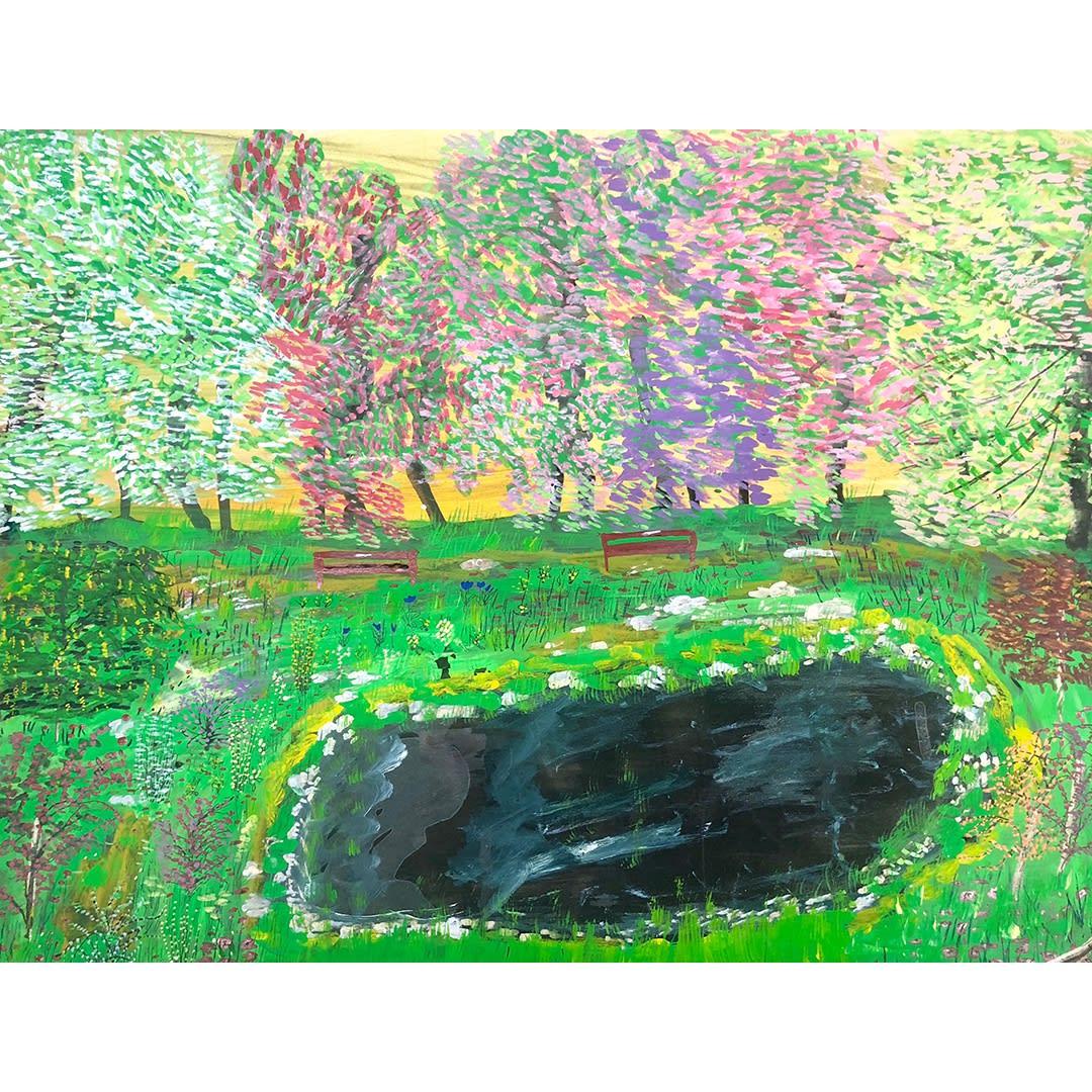 Ceija Stojka L'étang noir, 1992 Acrylique sur papier cartonné 50 x 65 cm (CST223)