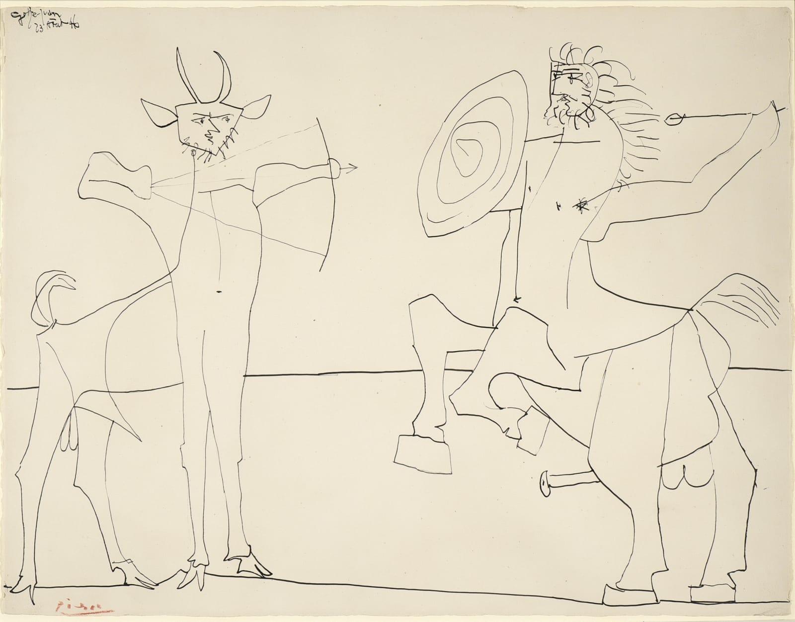 Pablo Picasso , Combat de Faune et de Centaure, 1946