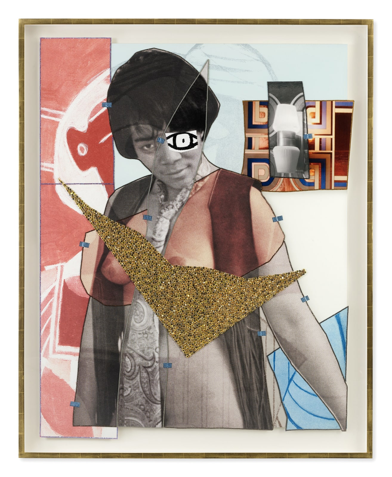 Mickalene Thomas Jet Blue #39, 2021 Color photograph, mixed media paper, acrylic paint, rhinestones, glitter and oil pastel on museum paper mounted on dibond 68 1/8 x 54 7/8 inches - 173 x 139,4 cm