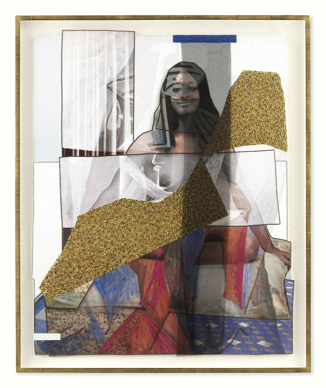 Mickalene Thomas Jet Blue #40, 2021 Color photograph, mixed media paper, acrylic paint, rhinestones, glitter, fiberglass mesh on museum paper mounted on dibond 67 1/8 x 55 3/8 inches - 170,5 x 140,7 cm