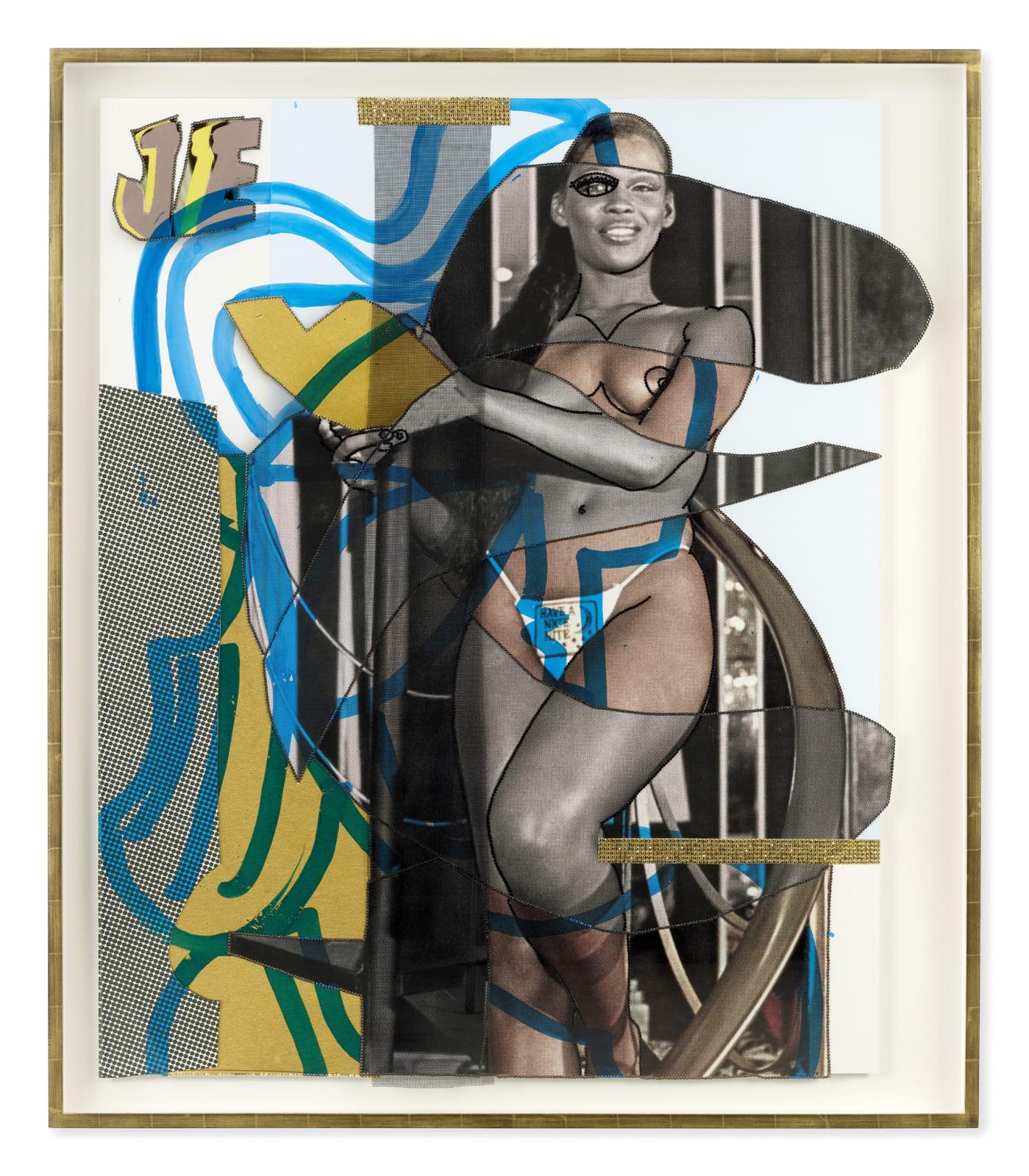 Mickalene Thomas Jet Blue #41, 2021 Color photograph, mixed media paper, acrylic paint, rhinestones, fiberglass mesh on museum paper mounted on dibond 65 7/8 x 56 3/4 inches - 167,3 x 144,1 cm