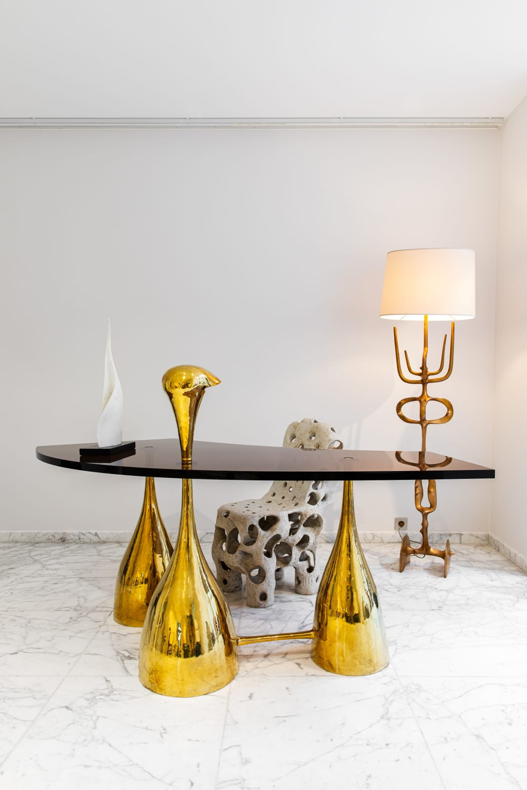 Desk with lamp, Philippe Hiquily Entrelacs chair, Agnès Debizet Surrealist lamp, Victor Roman Nona sculpture, Florian Cabrera