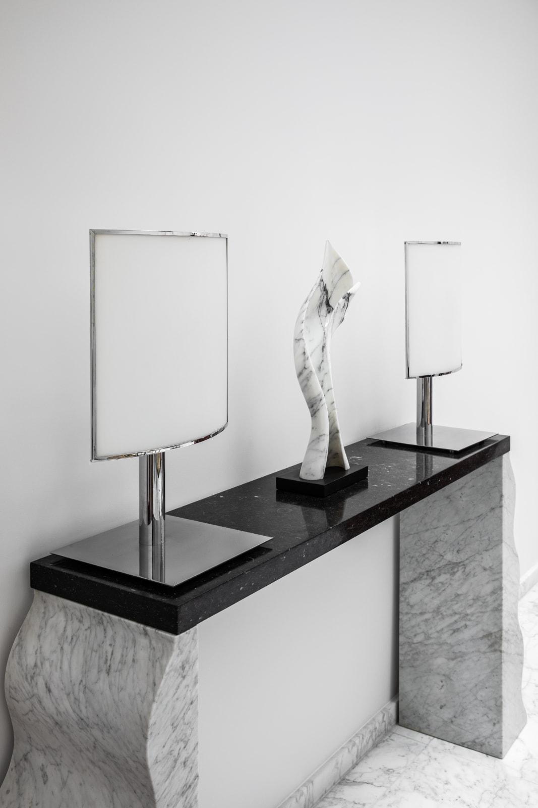 Ecran table lights, Michel Boyer Balerina Sculpture, Florian Cabrera Montenegro console, Ettore Sottsass