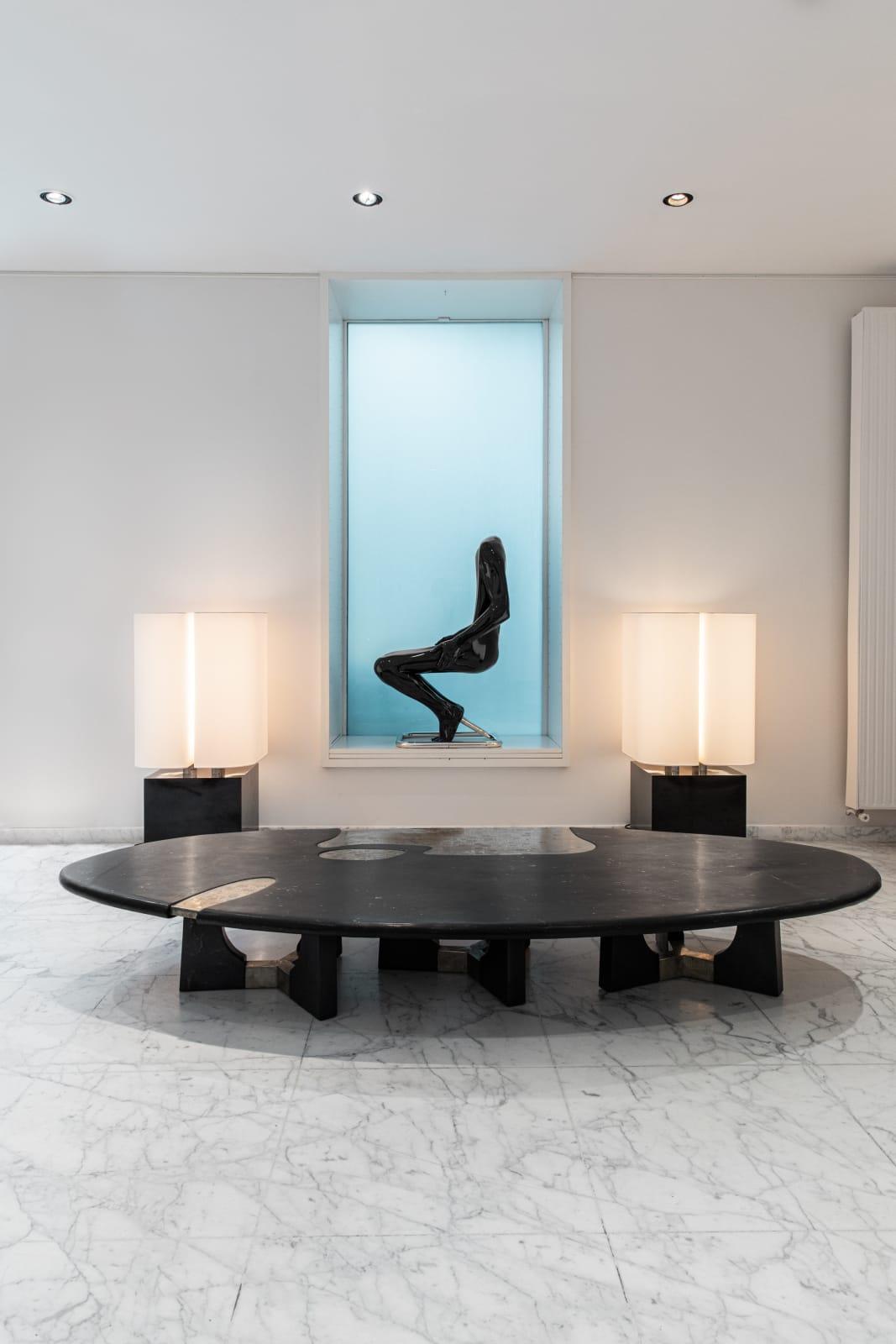 Léo coffee table, Emmanuel Jonckers Brasilia lamps, Michel Boyer L'homme chair, Ruth Francken