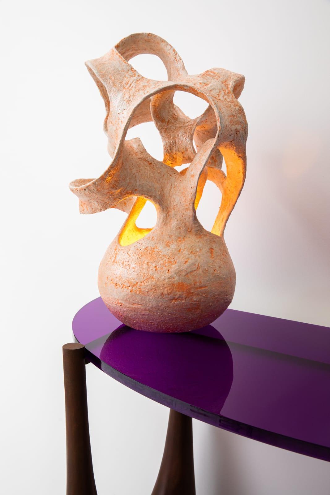 Entrelacs table lamp, Agnès Debizet 1988 Console, Philippe Hiquily