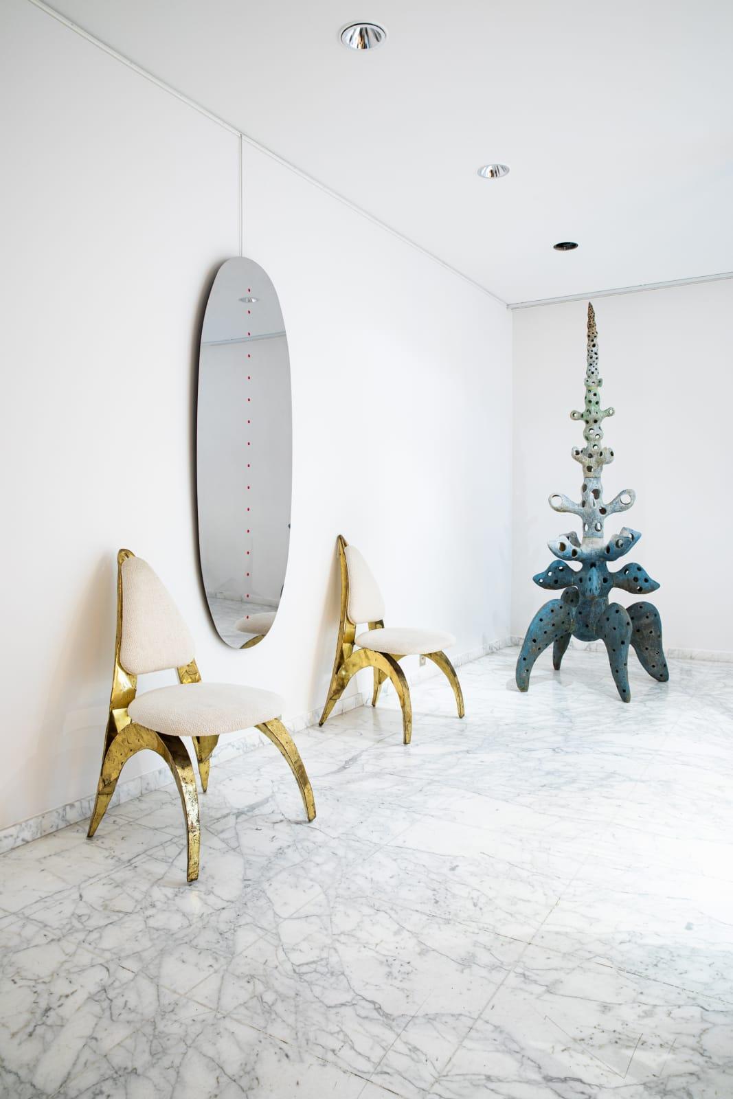 PAIR OF CHAIRS, HONORÉ PARIS MIRROR, DINO GAVINA Arbre à Quatre sculpture, Agnès Debizet