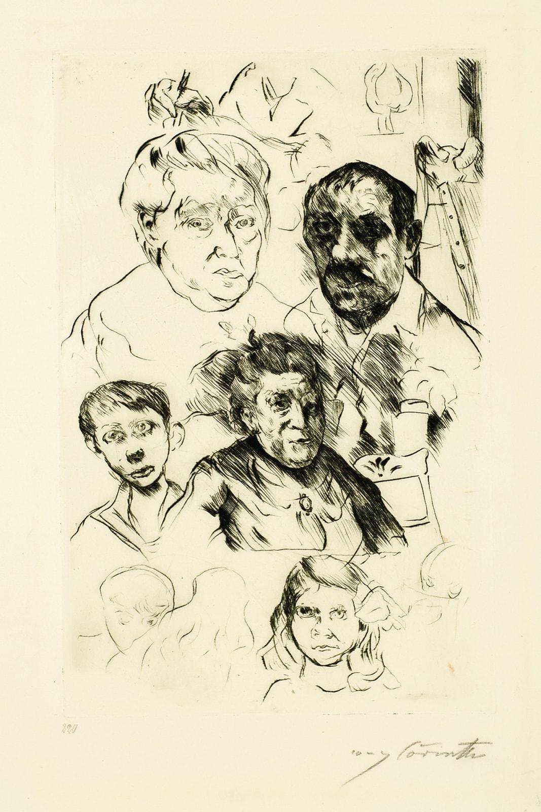 Lovis Corinth Verschiedene Kopfe und Selbstbildnis (Various Heads and Self-Portrait), 1915