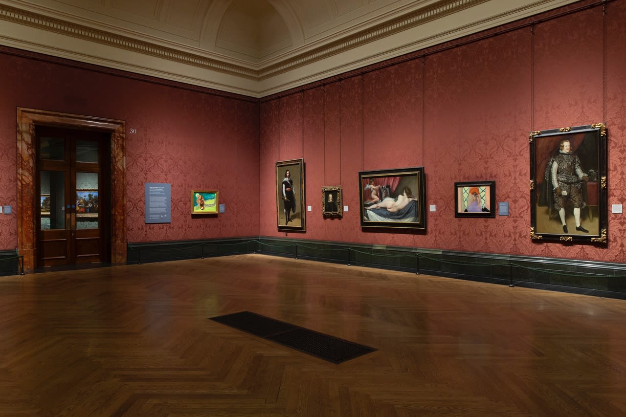 Installation view of 2020 National Gallery Artist in Residence: Rosalind Nashashibi: An Overflow of Passion and Sentiment in Room 30 ©The National Gallery, London