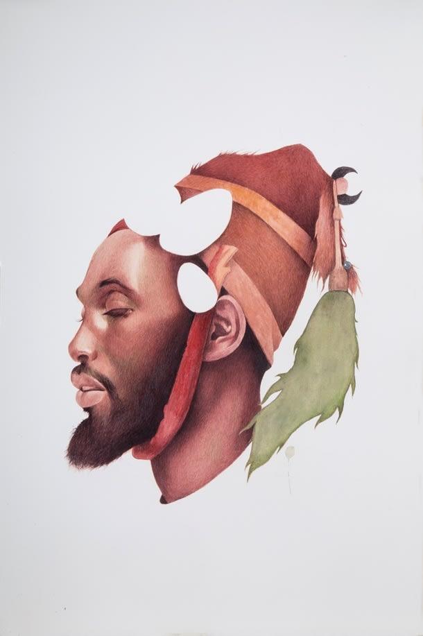Irfan Hasan, Moor in a headdress, After José Tapiro, 2016