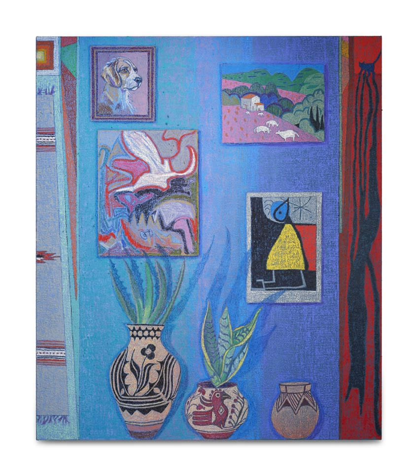 JJ Manford, Interior with Thrift store Dog Portrait (Native American Pottery and Rug, Miro Poster, Collab Painting with Jonas, & Mary Fedden Painting)
