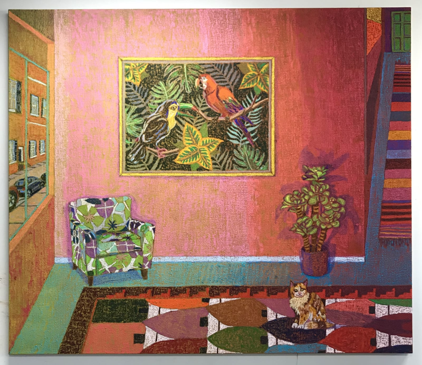 JJ Manford, The Waiting Room, 2020, 72 x 84 inches, oil stick and Flashe on burlap over canvas