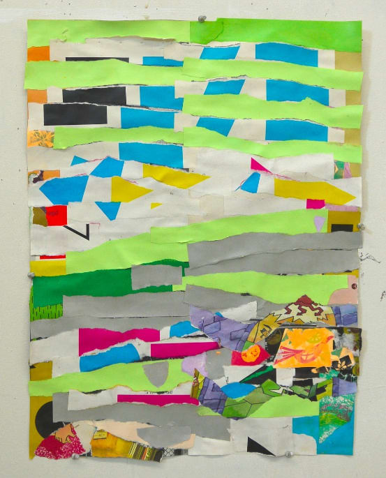 Brian Belott, Ripped Paper Collage, 1, 2020, paper, adhesives, 21 x 16 inches.