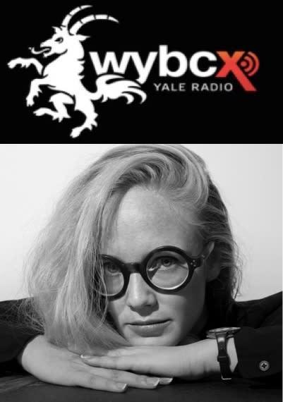 WYBC Yale Radio logo above black-and-white headshot of Virginia Lee Montgomery