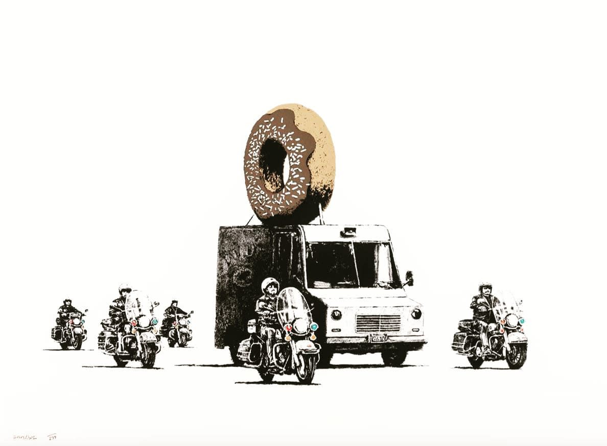 Banksy Donuts (Chocolate), 2009 Original screen print 56 × 76 cm Edition of 299 Signed